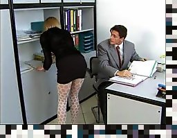 blonde stocking office